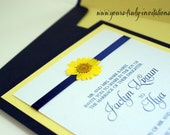 Sample - Custom Real Dried Daisy Wedding or Shower Invitation in Navy Blue and Soft Yellow or your colors