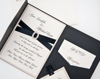 Deluxe Crystal Buckle Pocket folder Wedding Invitation Suite shown in black and champagne or in your colors