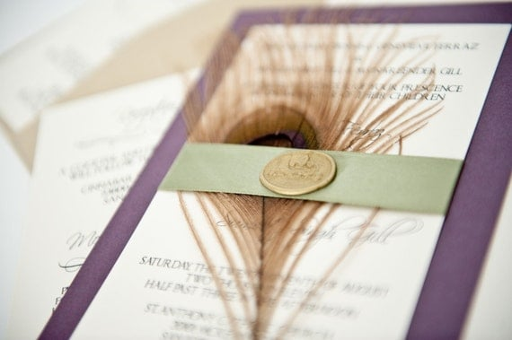Eggplant and Sage Green Golden Peacock Feather Wedding Invitation Suite with Golden Wax Seal Custom in your colors