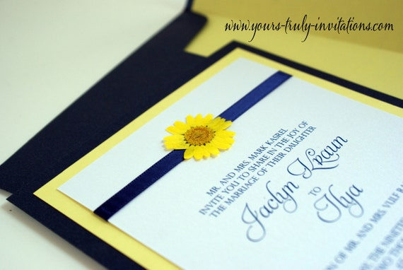 Summer Love Daisy Wedding or Shower Invitation in Yellow and Navy Blue