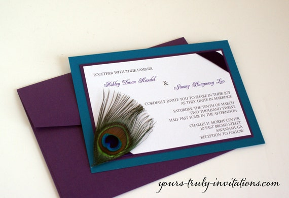 Sample - Corner Peacock Feather Wedding Invitation or Party invitation in Turquoise and Purple with Real feather - Custom