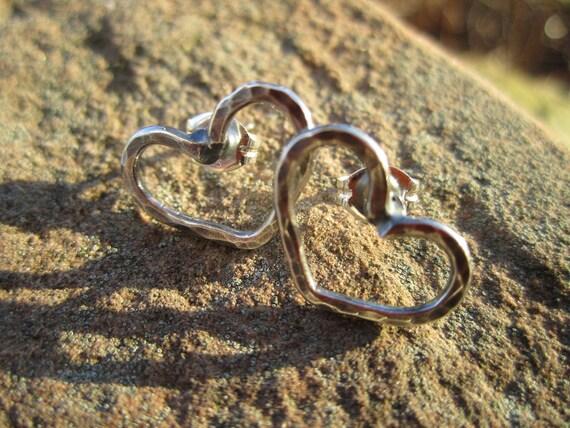 INVENTORY REDUCTION SALE - Stud Earrings -Petite Sterling Silver Heart Earrings