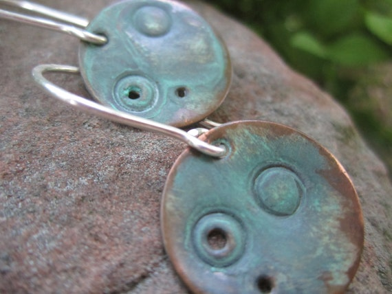 Small Verdigris Patinated Copper Moon Earrings