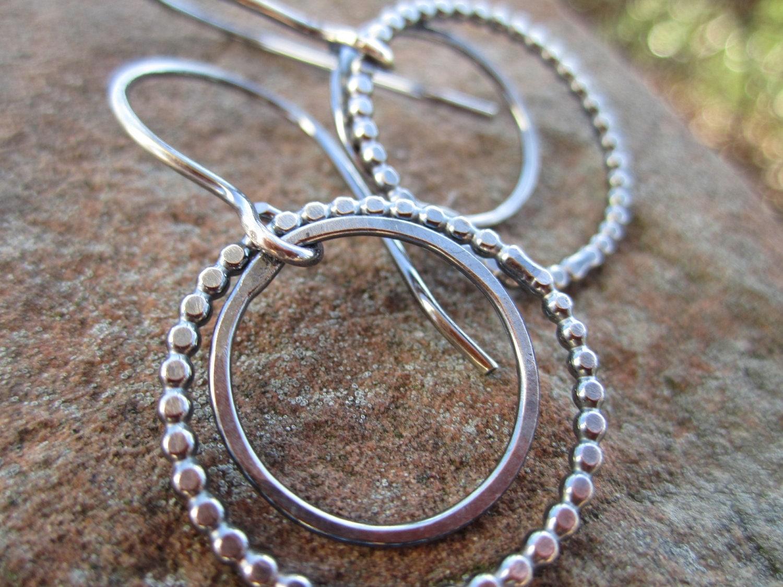 sterling silver double hoop earrings with beaded hoop. Black Bedroom Furniture Sets. Home Design Ideas