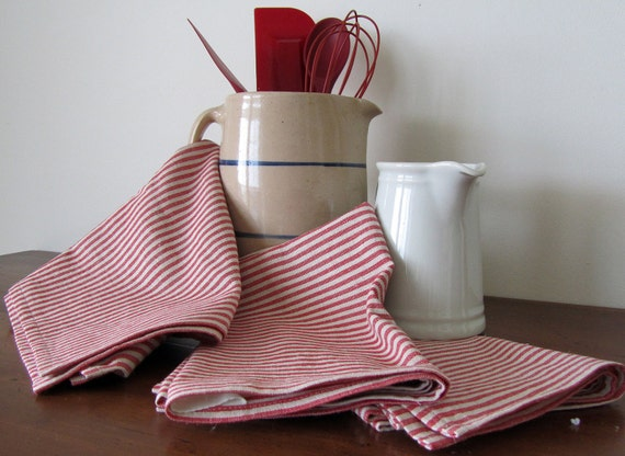 Lithuanian Lilnen Cotton Tea Towels Dish Kitchen Red Small Stripes