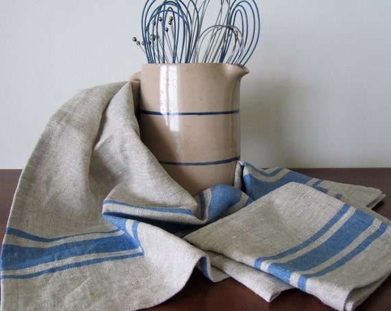 Llithuanian Linen Blue Striped Tea Towel Dish Kitchen