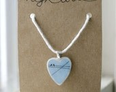 Heart Pendant of Love Birds on Wires (sky blue)