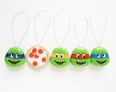 Snag Free Stitch Markers - Set of 5 Hand-Painted (TMNT, Teenage Mutant Ninja Turtles)