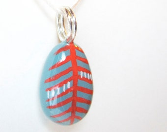 Tribal Leaf Painted Pendant (deep slate blue-green, coral, sterling silver) P190
