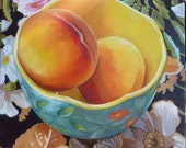 Blue Bowl with Peaches on Black Floral Cloth