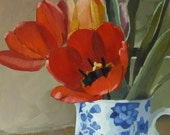 Red Tulips in Blue and White Jug