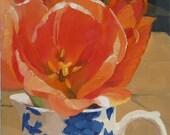 Peaches & Cream or Peach Tulip in Blue and White Jug