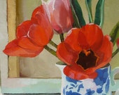 Red Tulips in Blue and White Jug III