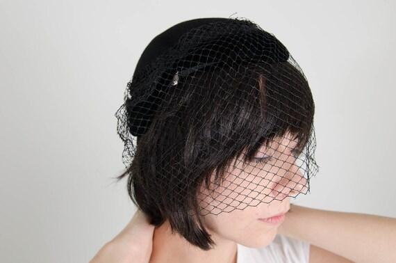 vintage black fur felt and velvet cocktail hat with smoke gems and birdcage veil