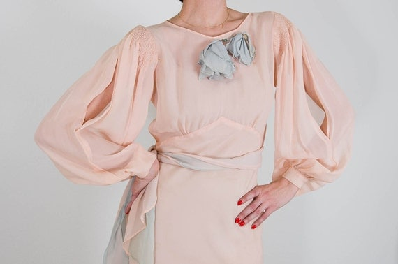 vintage peach silk chiffon open shoulder dress with blue handmade flowers and sash small