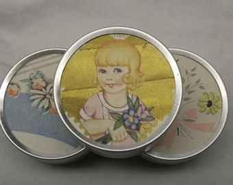 Tins with original vintage greeting card images from the 1930's - 1940's