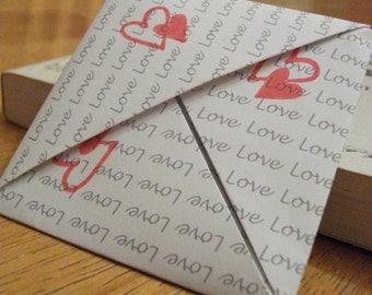 Origami Book Corner - bookmark with red stampped hearts