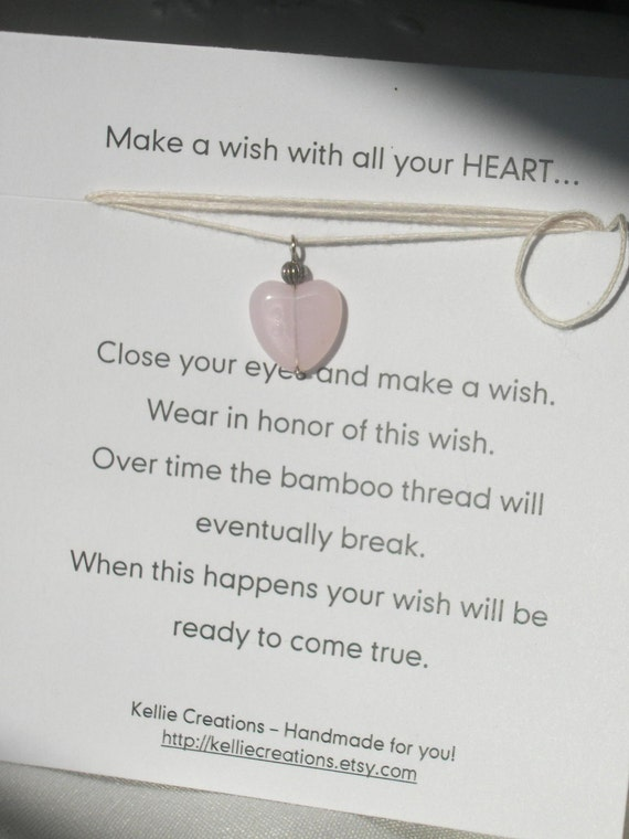 Wish Necklaces / Bracelets - Heart - Pink  love and beauty