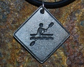 Pewter Kayaker Necklace - Road Sign Series