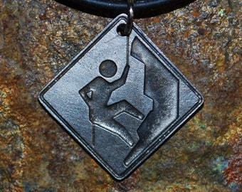 Pewter Rock Climber Necklace - Road Sign Series