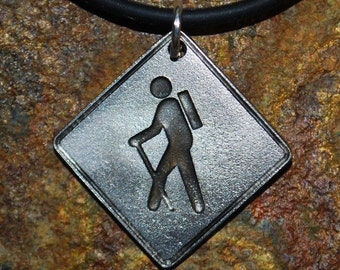 Pewter Hiker Necklace - Road Sign Series
