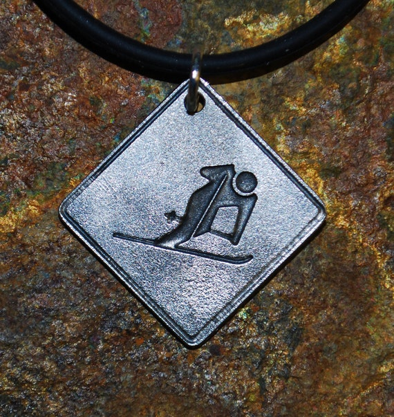 Pewter Skier Necklace - Road Sign Series