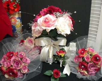 SET of BEDAZZLED Elegant Dream Bridal Bouquet with Real touch silk Roses