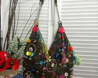 Upcycled Maycas Jewelled BOHO  Gypsy Bohemian Ethnic  Hand/Shoulder Bag /Shabby Chic - FREE Shipping in USA
