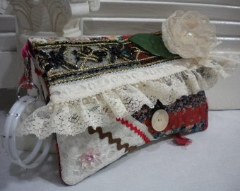 Sleek & Sassy Foldover Clutch  Bridal Bag Vintage Shabby Chic with detachable Bracelet