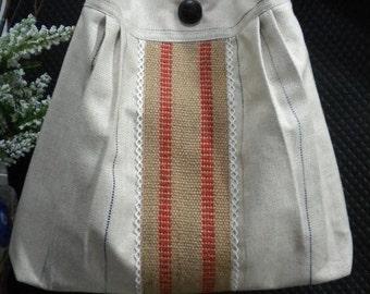 French Market Bag / Large Pleated Hobo Bag / Diaper Bag / Shoulder Bag with Adjustable Strap / Messenger Bag / Burlap vintage look