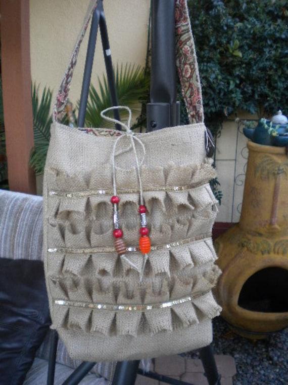 Glitzy French Burlap   Bag Hobo Bag  with Ruffles /Shabby Chic