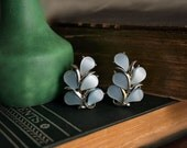 Kramer Blue Thermoset Clip-on Earrings - Vintage Jewelry - Silver and Blue