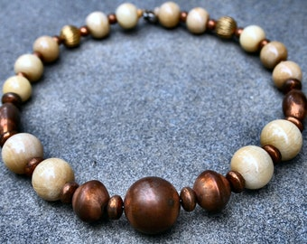 Vintage Wood and Copper Beaded Necklace - Cream Gold and Copper ~ Vintage chunky Jewelry