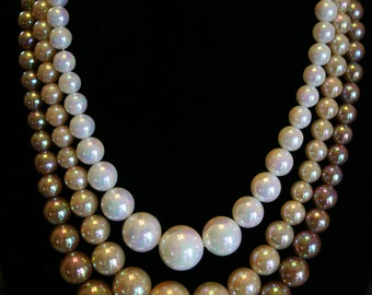 Pair of Pearlescent Three Strand Glass Beads Necklace and Earrings - Vintage Jewelry - Cream and Mocha Colors