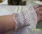 Set of 2 Beige Crochet Victorian Lace Cuffs