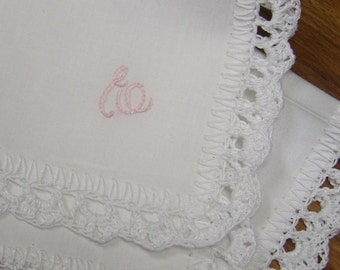 Custom Embroidered Handkerchief, Monogrammed, Hanky, Personalized, Crochet Hanky, Crochet Lace, White, Ladies Hanky, Bridesmaids Gift