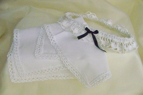 White Crochet Garter and Handkerchief / Hanky /Bridal Set/ Embroidery Included