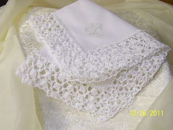 White Crochet and Embroidered Wedding Handkerchief / Hanky
