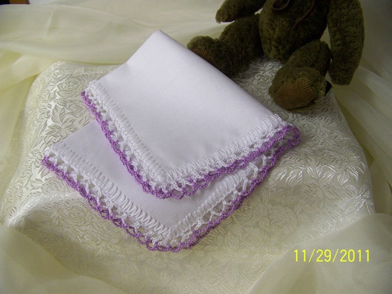 Bridesmaids Handkerchief, Crochet Hanky, Lace, Lavender, Purple, Custom Embroidered, Personalized, Monogrammed, Wedding Colors