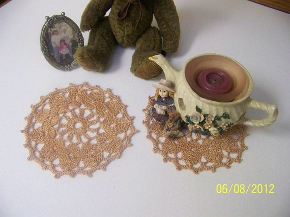 Crochet Lace Decorative Coasters -Set of 2 / Small Doilies Tan