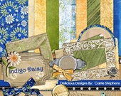 75% Off Product Retirement - Indigo Daisy Scrapbooking Kit,  Navy & Yellow Flower ClipArt and Patterned Paper, Graphic Design