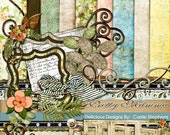 75% Off Sale! Product Retirement, Beautiful Distressed Papers, Feminine Floral Digital Paper, Shabby Chic Digital Scrapbook Kit