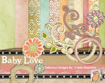 75% Sale! Product Retirement, Baby Love Digital Scrapbooking Kit, Sweet Baby Scrapbook Paper & Embellishment, Baptism, Christening