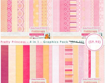 Product Retirement Sale - Pretty Princess Digital Paper Pack, Princesses Birthday Invitation, Bubble Gum Pink, Cotton Candy Pink