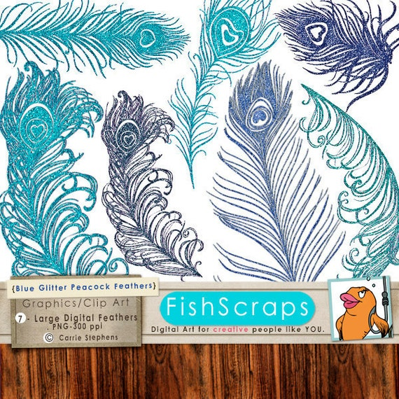 Blue Glitter Peacock Feather Clip Art, Sparkly Digital Graphics for DIY Wedding Invitations, Printable Annoucements, Wedding Favors