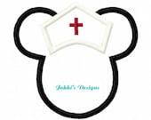 Instant Download Nurse Mouse Ears Embroidery Machine Applique Design-509