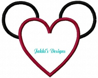 Heart Mouse Ears Embroidery Machine Applique- 517