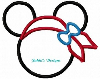 Instant Download Girl Pirate Mouse Ears Embroidery Machine Applique Design-522