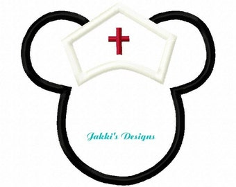 Instant Download Nurse Mouse Ears Embroidery Machine Applique Design-509