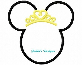 Instant Download Princess Mouse Ears Embroidery Machine Applique Design-523